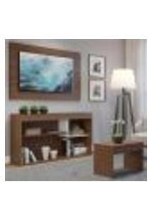 Rack C/Painel Tv Até 55 Pol. E Mesa Centro Dubai Multimóveis Nogueira/Branco Ref.2830.935