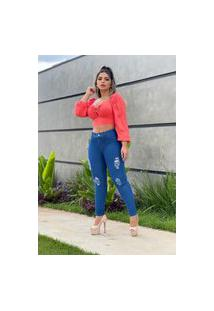 Calça Jeans Feminina Skinny Fec Fashion Cintura Alta Com Elastano Azul Rasgada