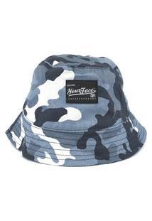 Chapeu Bucket Your Face Camo Azul Estilo Esporte Casual Básico Skate Urbano Confortável
