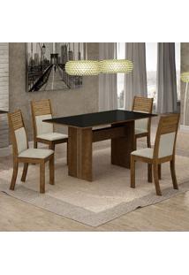 Conjunto De Mesa De Jantar Florença Ii Com 4 Cadeiras Havaí Linho Preto E Bege