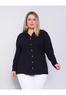 Camisa Palank Plus Size Lisboa Feminina - Feminino-Preto