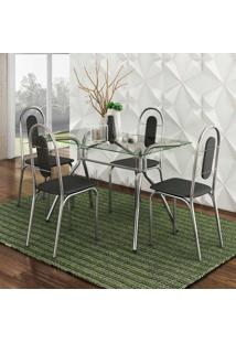 Conjunto De Mesa Aquila Com 4 Cadeiras Aço Cromado