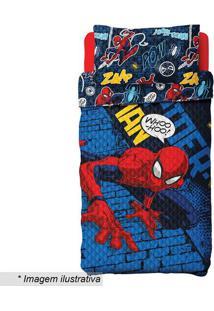 Conjunto De Colcha Dupla Face Spider Man® Solteiro- Azullepper