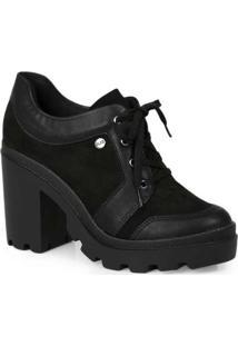 Sapato Oxford Feminino Quiz Recortes Preto