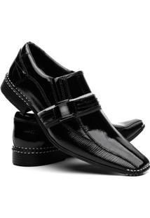 Sapato Social Vr Couro Verniz Masculino - Masculino-Preto