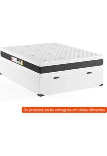 Cama Box Casal Premium Com Baú Corino Branco Com Colchão Black White D45 Branco
