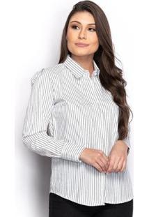 Camisa Camisete Social Feminina Listrada Manga Longa Casual - Feminino-Branco