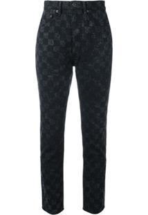 Marc Jacobs Calça Jeans Xadrez 'Flood Stovepipe' - Preto
