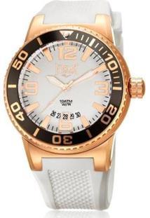 Relógio Pulso Everlast Pulseira Silicone E579 - Feminino-Branco