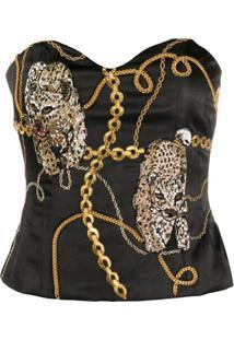 Giuseppe Di Morabito Chain Print Bead-Embellished Bustier - Preto
