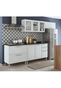 Cozinha Compacta 8 Portas 3 Gavetas Tampo Para Cooktop 5 Bocas Tarsila Itatiaia Branco