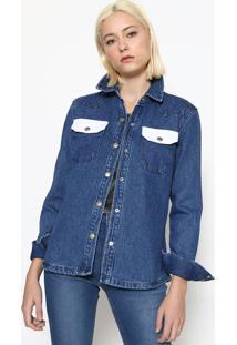 Camisa Jeans Com Bolsos - Azulcalvin Klein