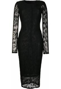 Versace Jeans Couture Vestido Com Mesh E Logo - Preto