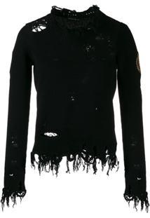 Etro Suéter Com Efeito Destroyed - Preto