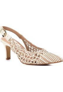 Scarpin Shoestock Salto Alto Macramê - Feminino-Nude