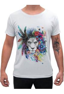 Camiseta Impermanence Estampada Leão Masculina - Masculino-Branco