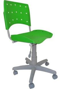 Cadeira Giratória Ergoplax Plástica Base Cinza - Verde