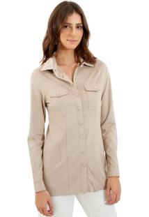 Camisa Le Lis Blanc Mel New Suede Ramie Bege Feminina (Ramie, 48)