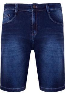 Bermuda Denim Malha Dark Blue (Jeans Escuro, 40)