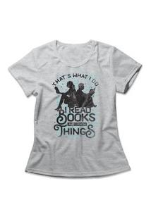 Camiseta Feminina I Read Books Cinza