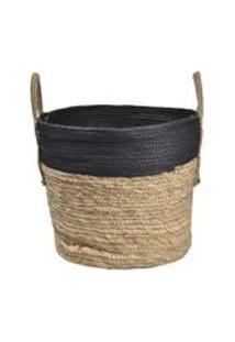 Cesto Em Seagrass Com Alca 20X27Cm Enjoy Marrom/Preto
