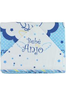 Toalha De Banho Multibaby Com Capuz E Foro Bebê Anjo Azul