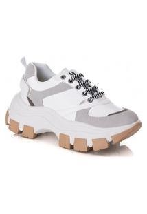 Tênis Sneaker D'Flora Estilo Casual - Branco Cinza