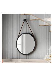 Espelho Redondo Disco Decorativo C/ Alça Hb Móveis 540Mm Preto