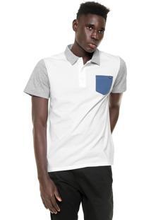 Camisa Polo Billabong Dover Branca/Azul/Cinza