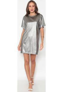 Vestido Metalizado- Prateado- Sommersommer