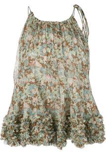 Stella Mccartney Blusa Com Estampa Floral E Babado - Verde