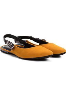Sapatilha Dakota Chanel Laço Xadrez Feminina - Feminino-Amarelo