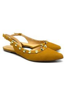 Chanel Feminina Couro Bico Fino Casual Conforto Dia A Dia Amarelo 34 Amarelo