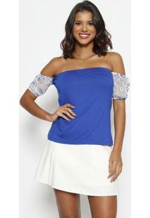 Blusa Ciganinha Com Bordado - Azul Escuro & Branca -Thipton