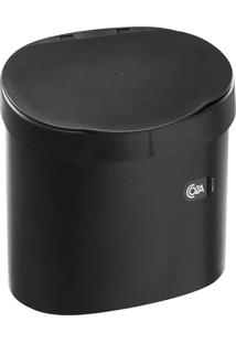 """Lixeira 4L Com Borda Para Esconder Saco De Lixo """" Ideal Para Pia """" Cor Preta - Coza"""