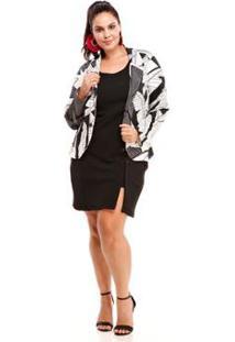 Blazer Melinde Plus Size Piquet Print Feminino - Feminino-Preto+Branco