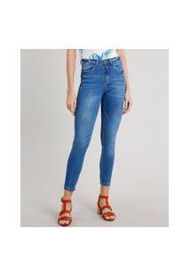 Calça Jeans Feminina Skinny Azul Médio