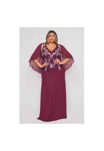 Vestido Almaria Plus Size Pianeta Longo Capa Vinho
