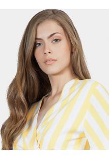 Blusa Com Amarração Em Tecido Amarelo Limonada - Lez A Lez