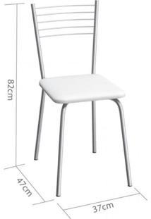 Cadeira De Aço Flex 82Cm Compoarte Cromado/Branco