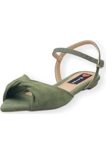 Sandália Rasteira Love Shoes Bico Folha Nó Torcido Verde Militar - Kanui