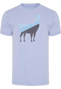 Camiseta Masculina Lhama Degradê - Azul