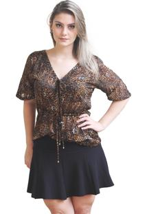 Blusa It'S Moda Manga Curta Animal Print