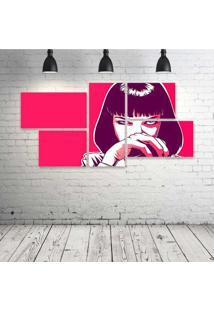 Quadro Decorativo - Pulp-Fiction-Pink - Composto De 5 Quadros