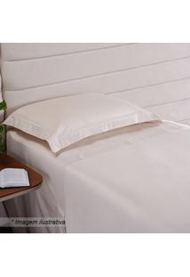 Fronha Hotel Com Bordado- Off White- 70X50Cm- 20Niazitex