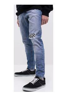 Calça Skinny Com Detalhes Quadriculado Em Jeans