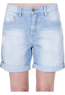 Bermuda Jeans Destroyed Cantão - Feminino-Azul Claro