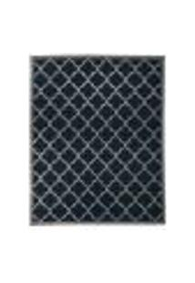 Tapete Grano Retangular Polipropileno (200X250Cm) Cinza E Azul