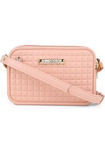 Bolsa Giulia Bardô Quadriculada Mini Bag Transversal Feminina - Feminino-Bege