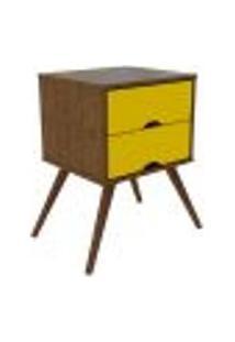 Mesa De Cabeceira Twister Retrô 2 Gv Imbuia Rustic E Amarela